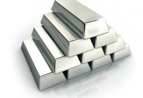 A Stack of Silver ingots on white